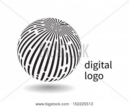 Communication logo. Vector black and white earth globe symbol of social network. progress and high technology.