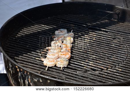 Small Prawns On The Stick Grilled Photography