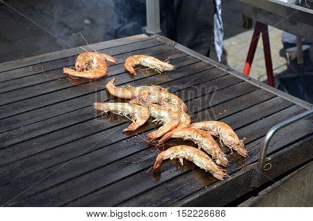 Tiger Prawns Sea Food On The Grill