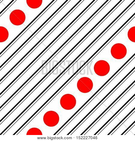 Seamless Diagonal Stripe and Circle Pattern. Vector Black and Red Background. Minimalistic Graphic Design
