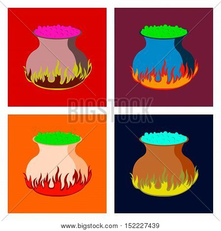 assembly of flat illustration halloween potion cauldron