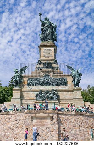 Monument to the unification of Germany and the end of the Franco-Prussian war: Niederwalddenkmal - Rudesheim am Rhein, Hesse, Germany, August 1 2015