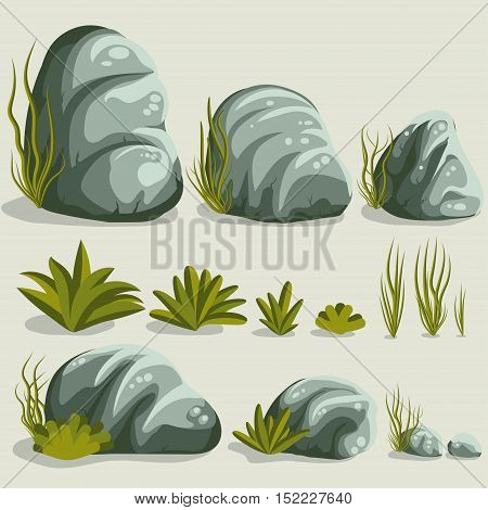 Rock stone set with grass. Vector illustration