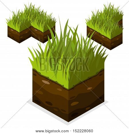 3D Isometric Landscape Cube - Ground Grass Element. Icon Can be used for Game, Web, Mobile App, Infographics. Game asset.