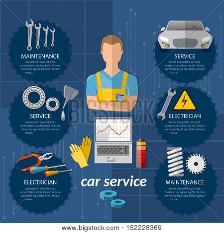 Car service infographics mechanic auto service center car diagnostics tuning professional auto repair vector illustration