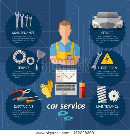 Car service infographics mechanic auto service center car diagnostics tuning professional auto repair vector illustration