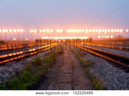 Cargo train platform at sunset with container(Lens Blur)