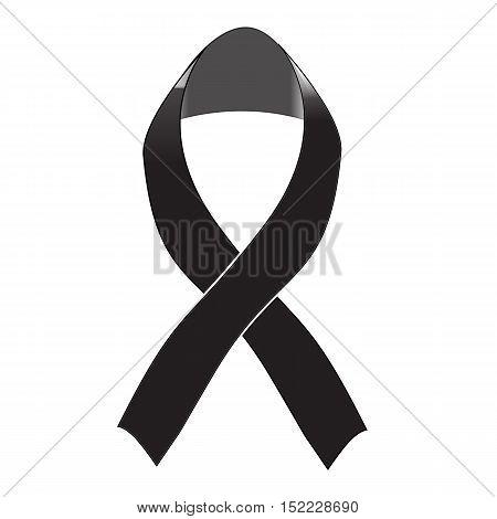 Black awareness ribbon on white background. Mourning and melanoma sign.