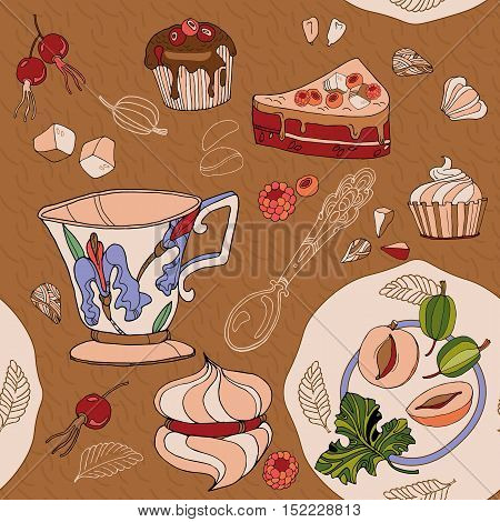Tea seamless pattern sweets saucers cups hand drawn vector illustration