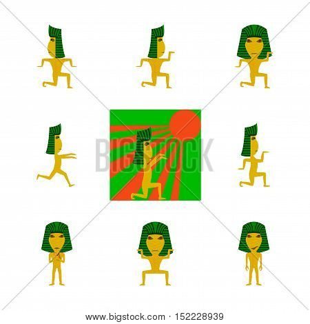 assembly of flat illustration mummy halloween monster
