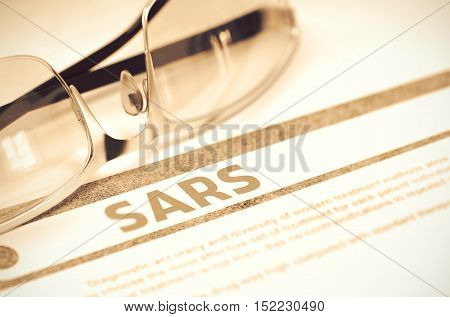 SARS - Severe Acute Respiratory Syndrome - Medical Concept with Blurred Text and Spectacles on Red Background. Selective Focus. 3D Rendering.