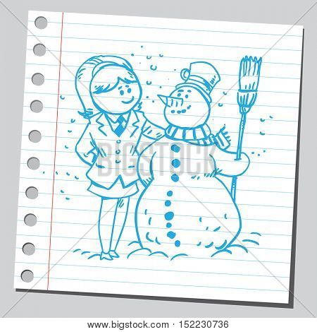 Businesswoman and snowman