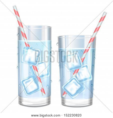 Glass of pure water and ice. Vector illustration