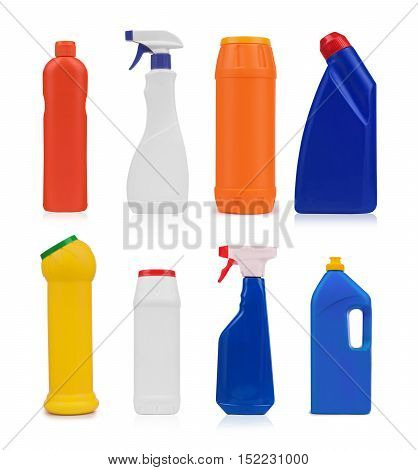 collection of various sanitary hygiene bottles on white background