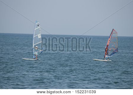 Two windsurfer study on the high seas