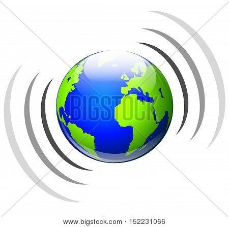 Illustration of worldwide broadcasting icon on white background