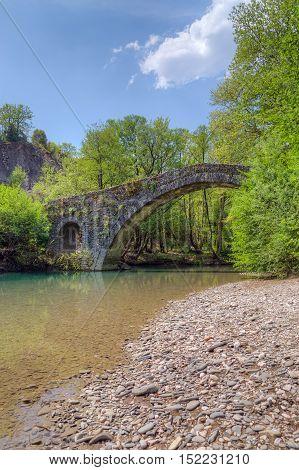 Kamper Aga stone bridge in Epirus, Greece