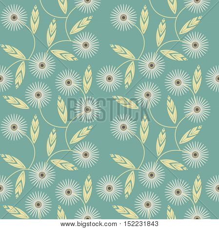 Seamless pattern with white camomile flowers on green background can be used for surface textures, textile, tile ,kids cloth, pattern fills and more creative designs.