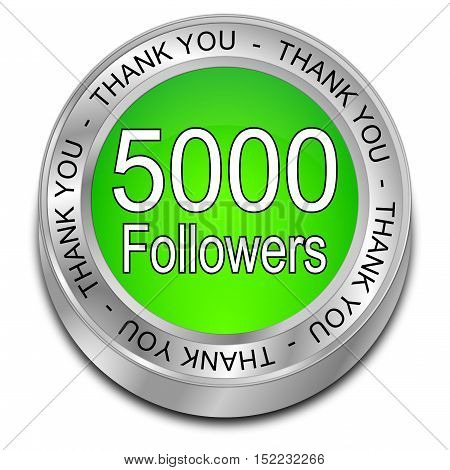 5000 Followers Thank you - 3D illustration