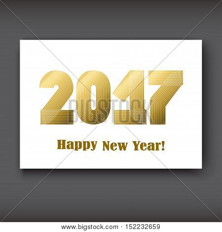 Happy New 2017 Year modern design gold on white background year 2017 in thin lines striped minimalist numbers written with a pen vector illustration