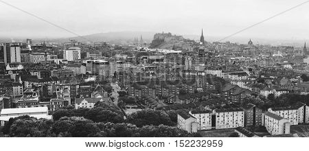 Panoramic aerial view of Edinburgh Scotland in moody weather. Black and white