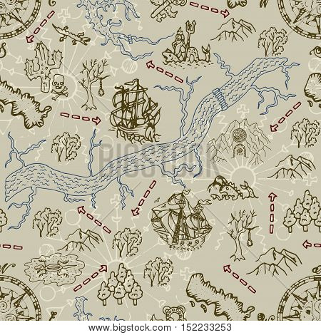 Seamless nautical background with pirate map elements, old ships and mystic symbols. Endless illustrations with vintage adventures and old transportation design. Pattern with doodle drawings