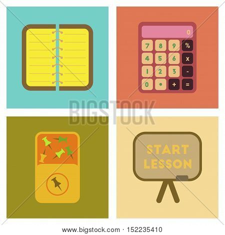 assembly of flat icons set office pins notebook calculator board