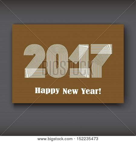 Happy New 2017 Year modern design white on brown background year 2017 in thin lines striped minimalist numbers written with a pen vector illustration