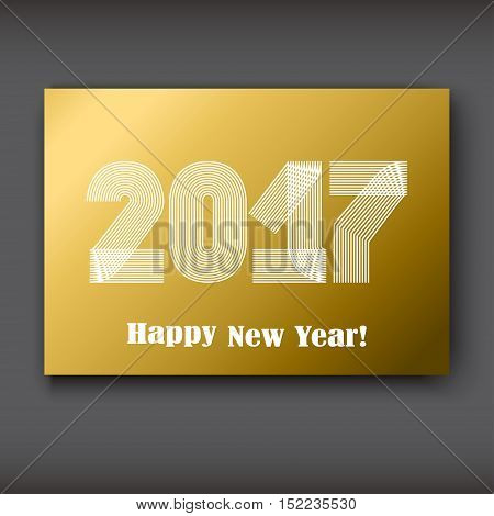Happy New 2017 Year modern design white on gold background year 2017 in thin lines striped minimalist numbers written with a pen vector illustration
