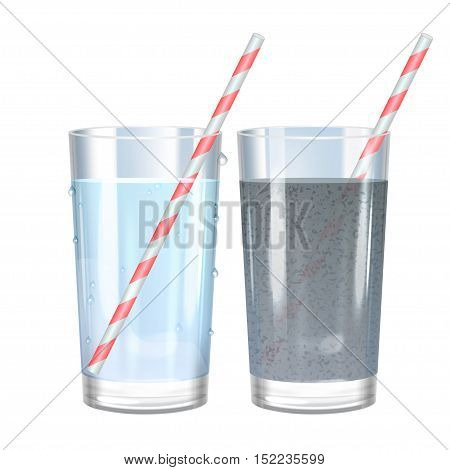 Glass of pure and dirty water. Vector illustration.