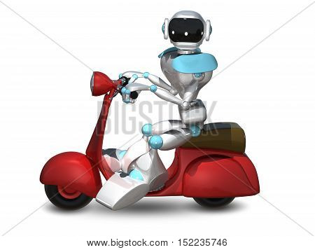 3D Illustration of a Robot on a Red Motor Scooter