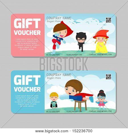 Voucher, Gift voucher kids, gift Voucher template with colorful pattern, kids voucher template with premium pattern, voucher superhero kids Vector illustration child concept, Gift voucher.
