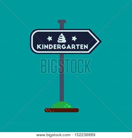 flat icon on stylish background sign kindergarten