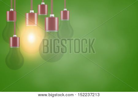 Energy saving solution concept with many light bulbs (3D Rendering)