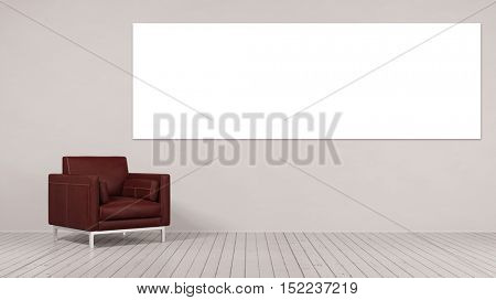 Chair next to blank panorama canvas on the wall (3D Rendering)