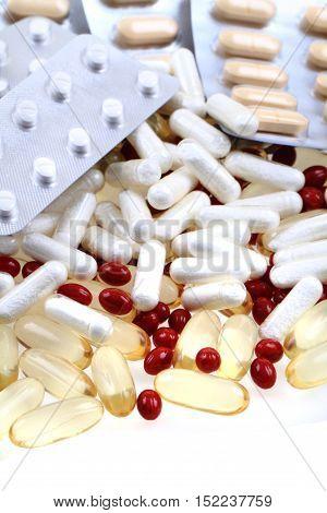 Different Pills Background