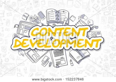 Doodle Illustration of Content Development, Surrounded by Stationery. Business Concept for Web Banners, Printed Materials.