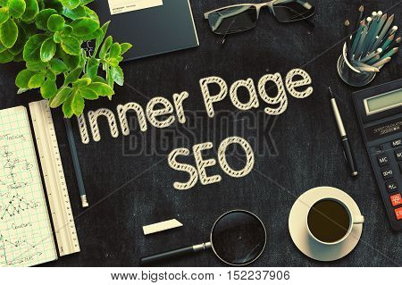 Inner Page SEO on Black Chalkboard. 3d Rendering. Toned Image.