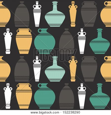 Vector silhouettes collection of colorful ancient greek vases. Seamless pattern of ancient  vases with traditional ,Greek ,abstract meander ornament.