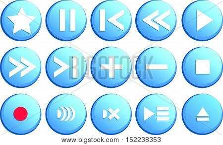 Media player buttons in vector collection. Media buttons in blue color.