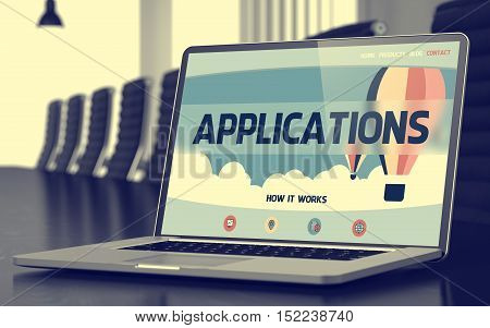 Laptop Display with Applications Concept on Landing Page. Closeup View. Modern Conference Room Background. Toned Image. Blurred Background. 3D Render.