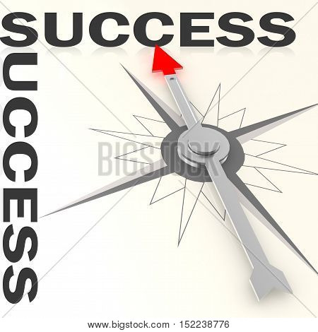 Compass With Success Word Isolated