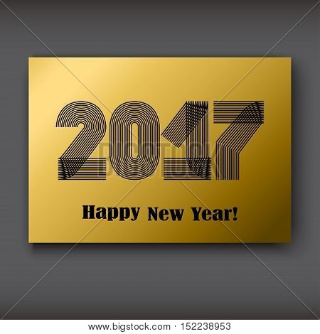 Happy New 2017 Year modern design black on gold background year 2017 in thin lines striped minimalist numbers written with a pen vector illustration