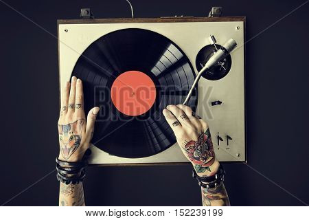 Vinyl Audio Music Rhythm Playing Tattoo Art Concept