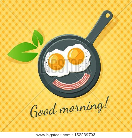 Good Morning!  Two Fried Eggs And Bacon Smile On A Pan.