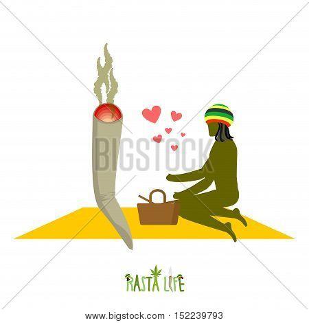 Rasta Life. Rastaman And Joint Or Spliff In Picnic. Man And Smoking Drug In Nature. Marijuana Lovers