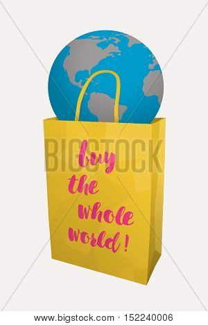 Globe in a yellow paper shopping bag. On the package is written slogan - buy the whole world!