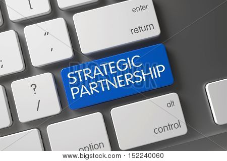 Strategic Partnership Concept: Slim Aluminum Keyboard with Strategic Partnership, Selected Focus on Blue Enter Keypad. 3D Illustration.