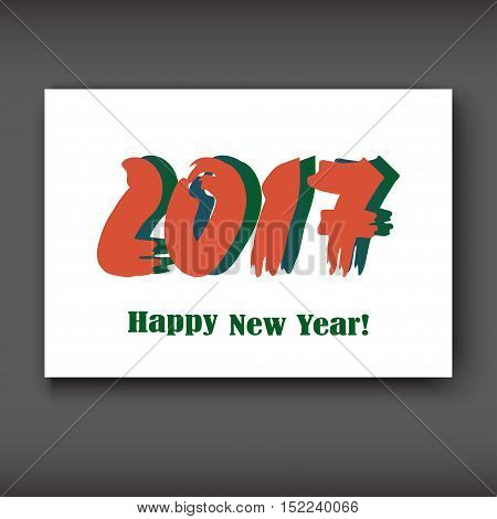 Happy New 2017 Year modern design on white background year 2017 in brush stroke pattern vector illustration