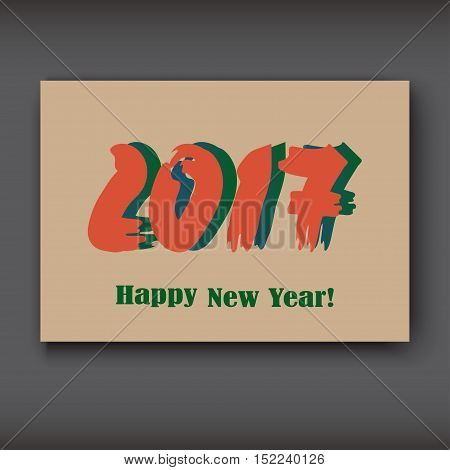 Happy New 2017 Year modern design on brown background year 2017 in brush stroke pattern vector illustration